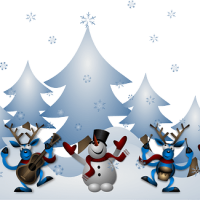 Snowmen dancing with reindeer